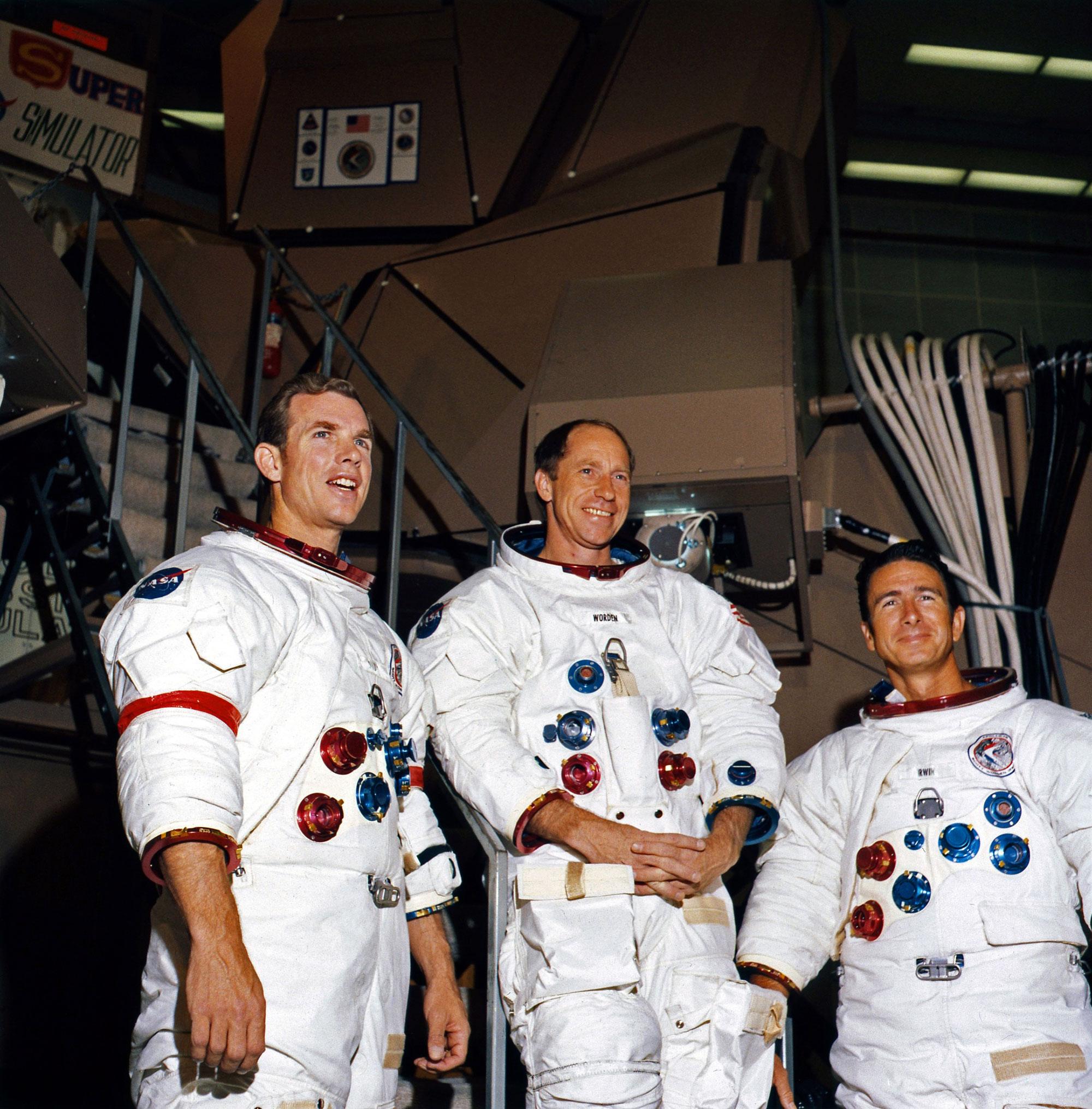 Apollo 15 crew Dave Scott, Al Worden and Jim Irwin. Credit: NASA via Retro Space Images