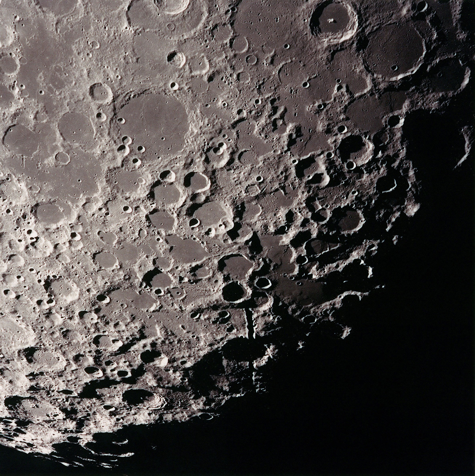 View from lunar orbit looking towards the Moon's South pole. Credit: NASA via Retro Space Images