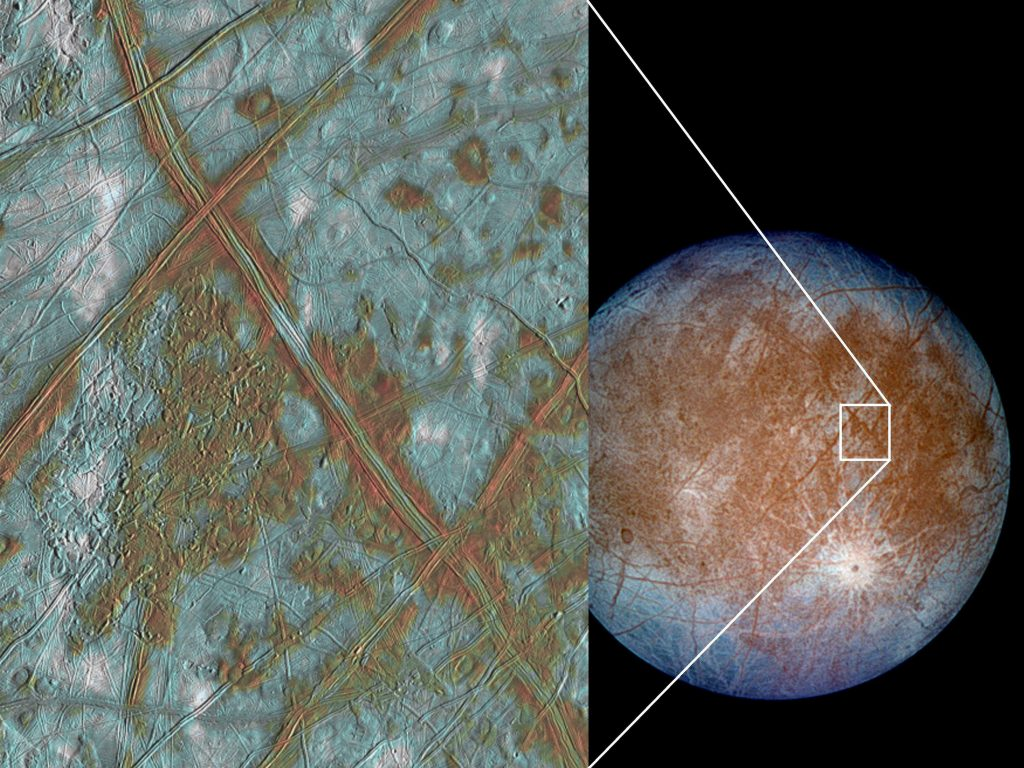 Jupiter's moon Europa has a crust made up of blocks, which are thought to have broken apart and 'rafted' into new positions, as shown in the image on the left. These features are the best geologic evidence to date that Europa may have had a subsurface ocean at some time in its past. Credit: NASA/JPL/University of Arizona