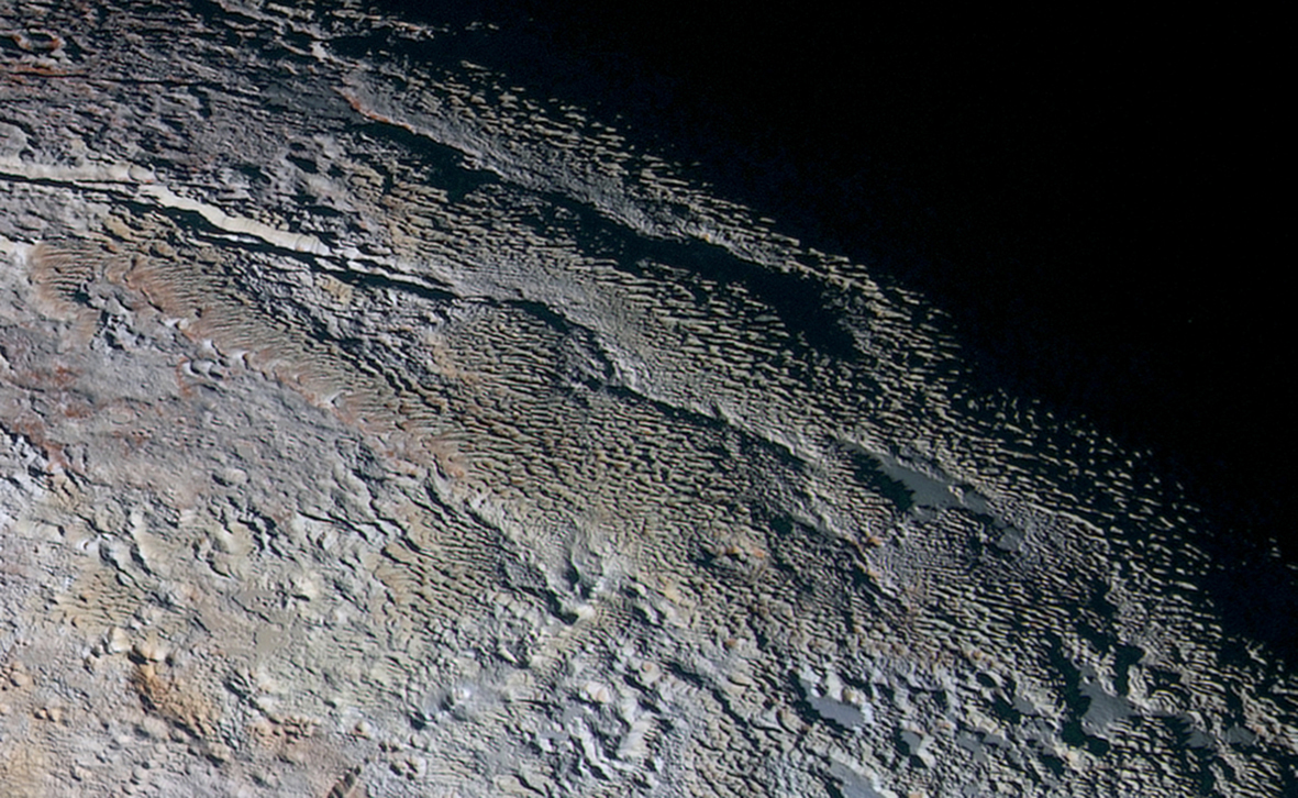 Figure 11: Bladed terrain in Tartarus Dorsa. Credit: NASA/JHUAPL/SwRI