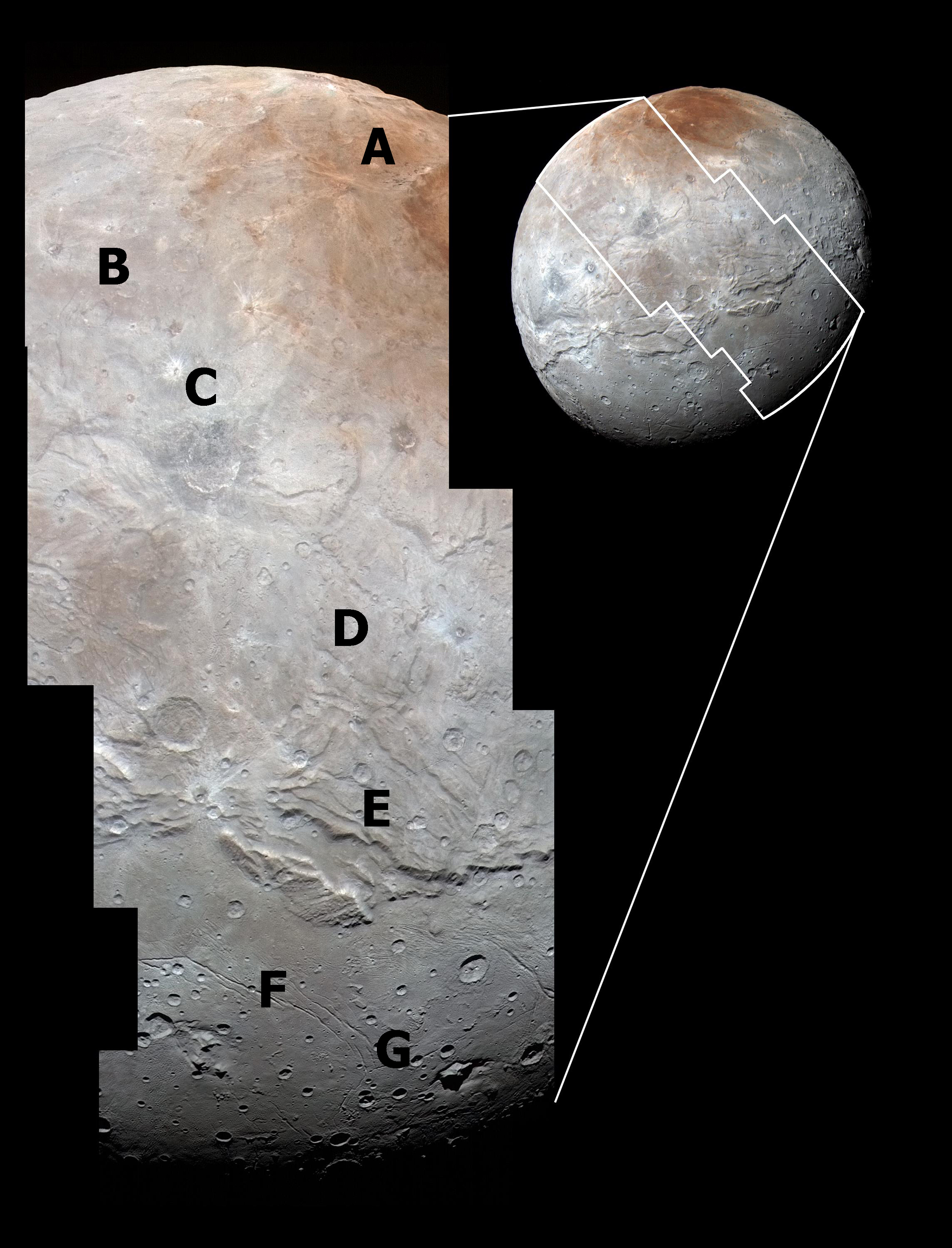 Figure 18: An enhanced-colour image of Charon's spectacular and intriguing landscapes. The letters refer to features described in this article. Credit: NASA/JHUAPL/SwRI
