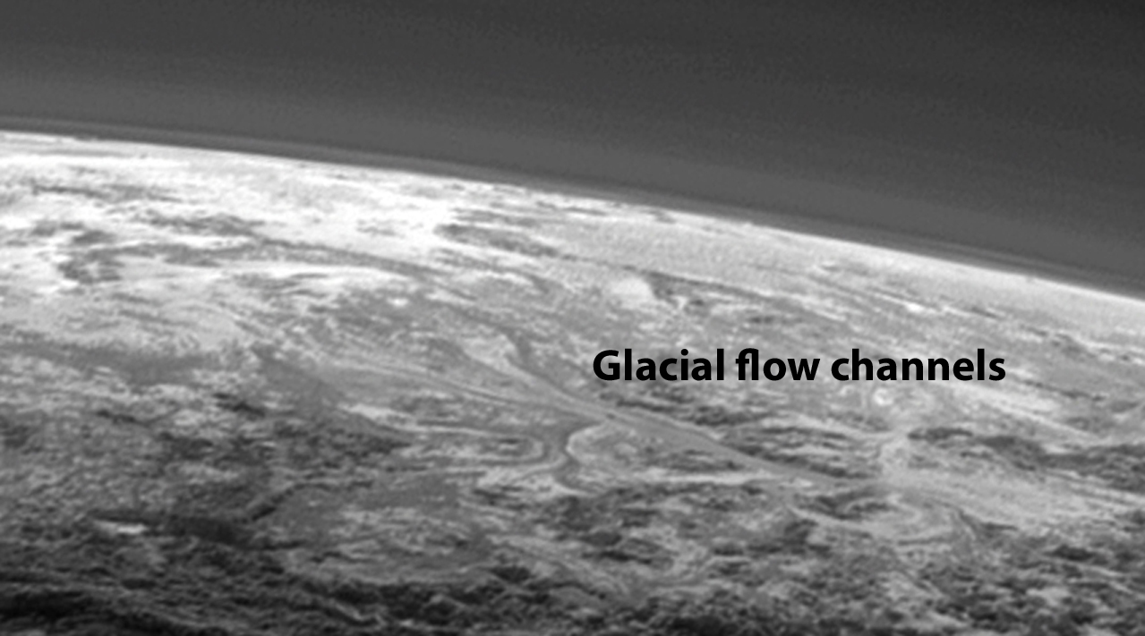 Figure 8: Evidence of glacial flow channels is seen in this oblique view of Sputnik Planum. Credit: NASA/JHUAPL/SwRI