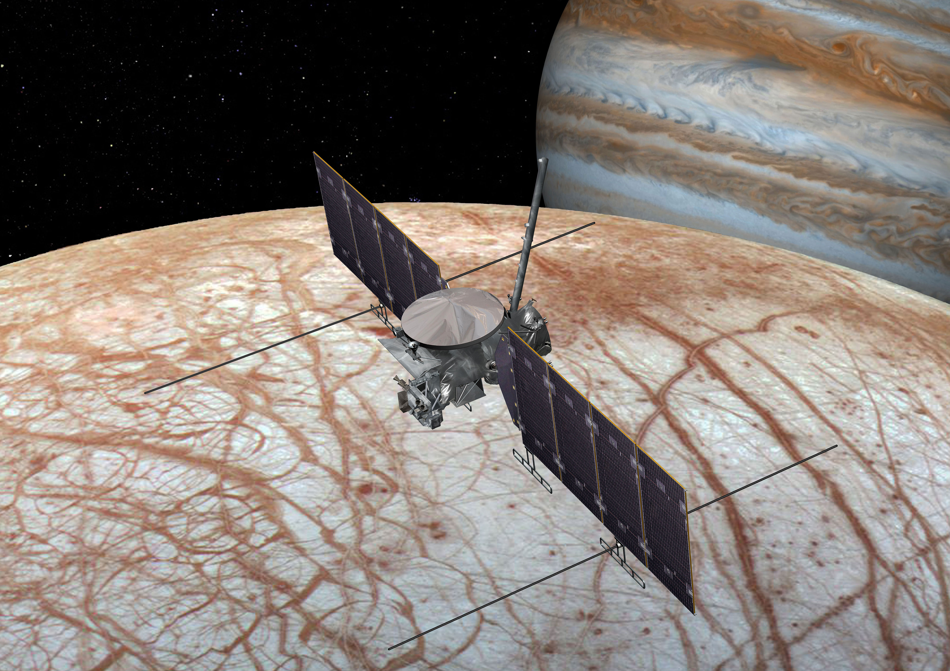 This artist's rendering shows NASA's Europa mission spacecraft, which is being developed for a launch sometime in the 2020s. Credit: NASA/JPL-Caltech